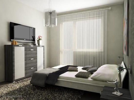 Маленькая спальня в стиле минимализм с компактной мебелью