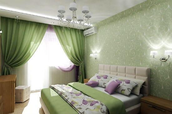 Использование в оформлении спальни нескольких оттенков зеленого цвета