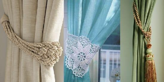 Виды красивых подхватов для классических штор в спальню