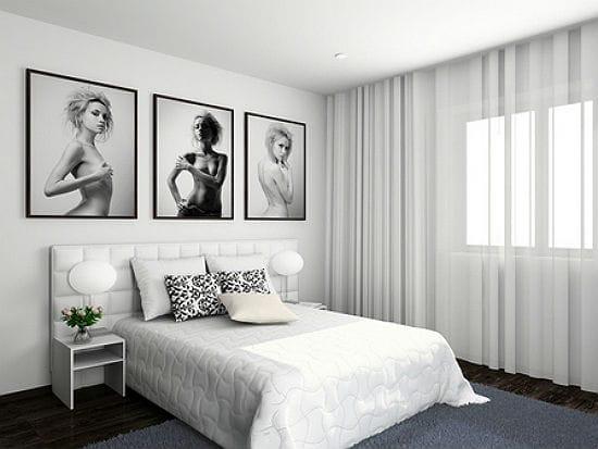 Черно-белая спальня в стиле поп арт