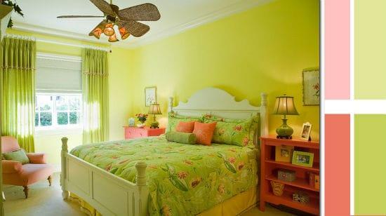 Детская спальня с использованием розового и зеленого цвета для оформления