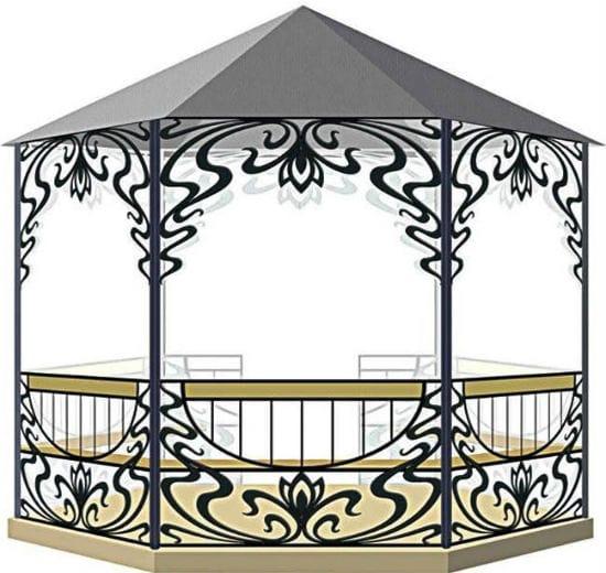Проект кованой беседки с крышей из поликарбоната