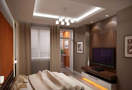 Установка телевизора в нишу в маленькой спальне