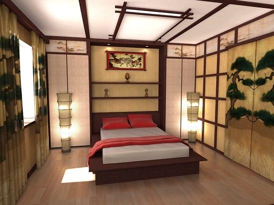 Декоративные панели из дерева и пластика в спальне японского стиля