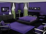 Проект спальни в фиолетово-черном цвете