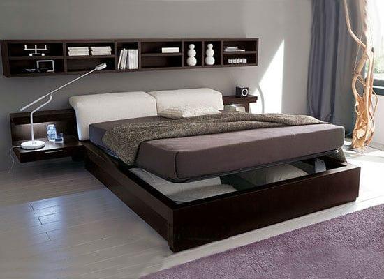 Кровать из ЛДСП в стиле минимализм для спальни