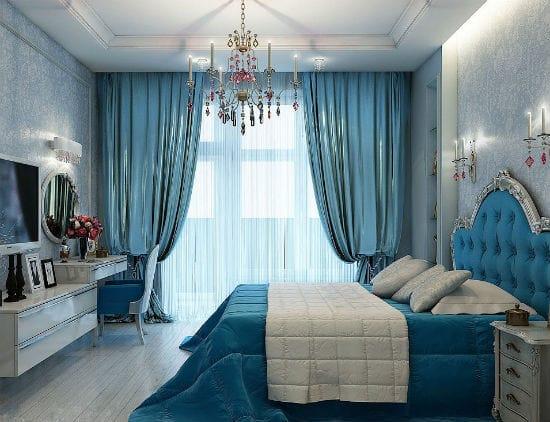 Текстиль в тон цвета мягкого изголовья кровати в спальне