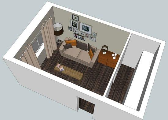 Планировка спальни гостиной площадью 9 м. кв.