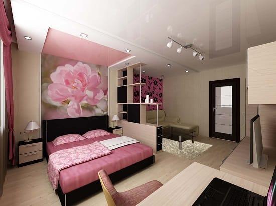 Декорирование спальной зоны гостиной цветочными фотообоями