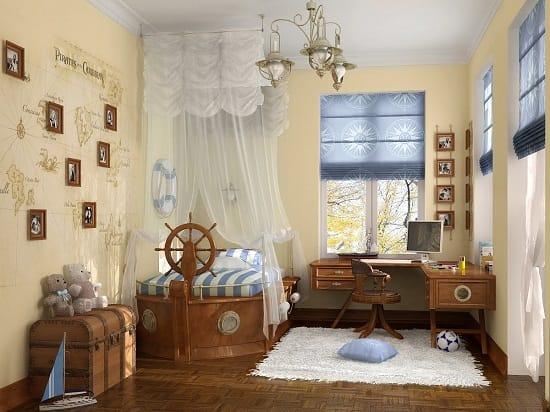 Интерьер спальни для мальчика с мебелью морского дизайна