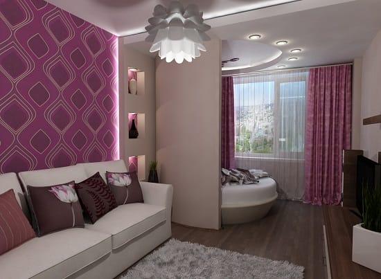 Разные типы освещения в гостиной спальне