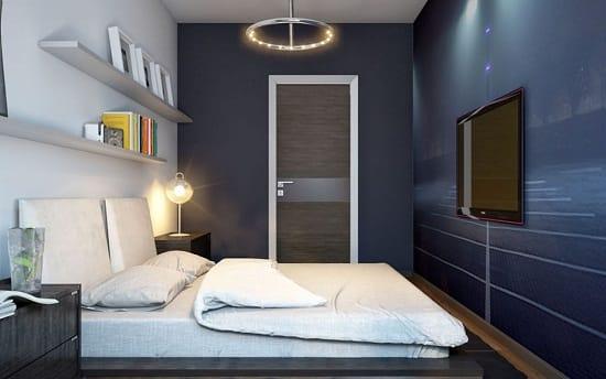 Ремонт спальни с контрастной отделкой стен
