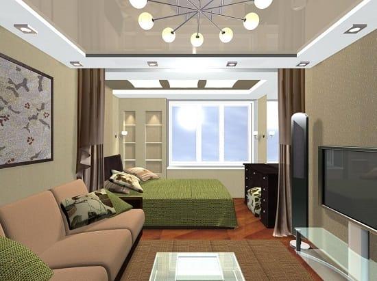 Отделение зоны с кроватью красивой шторой в спальне гостиной