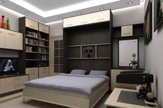 Установка в спальне гостиной кровати-шкафа