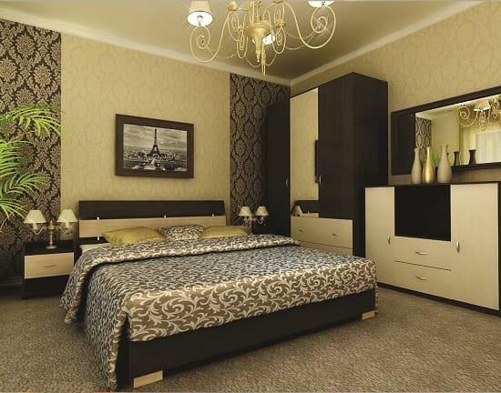 Комбинирование светлых и темных обоев в оформлении спальни