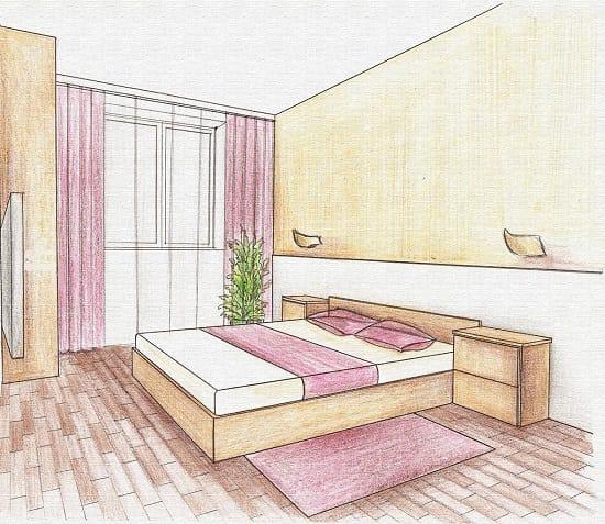 Составление эскиза перед началом ремонта спальни