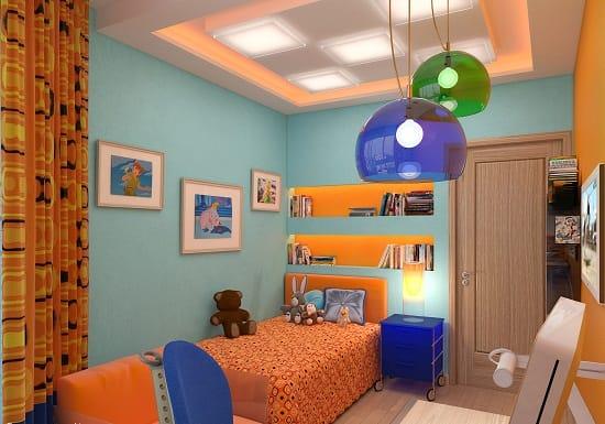 Яркие цветные лампы для освещения спальни мальчика