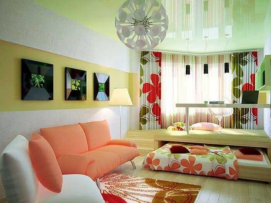 Установка в спальне гостиной выдвижной кровати