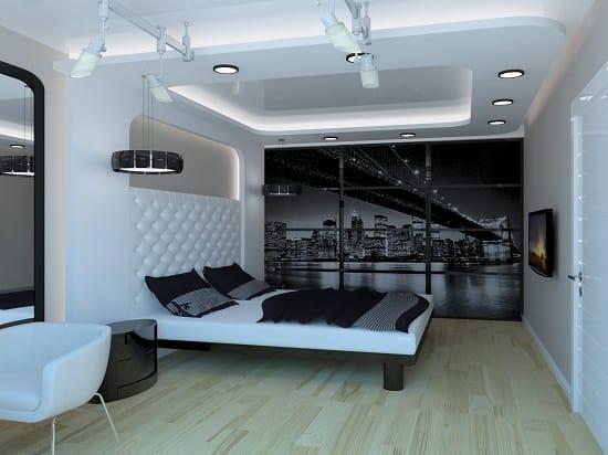 Современная черно-белая спальня после ремонта