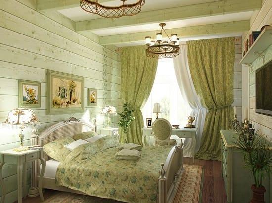 Оформление окон шторами на тон темнее цвета отделки спальни