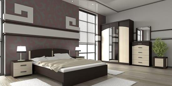 Расположение двухцветного гарнитура в обстановке большой спальни