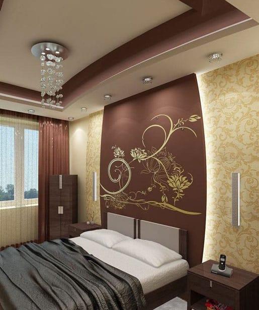 Подвесной двухцветный потолок из гипсокартона в спальне