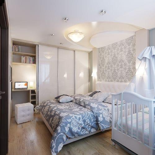 Пример обстановки детской спальни 14 кв м с рабочим уголком