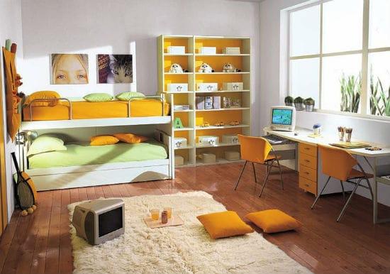 Выбор нейтральных тонов для  оформления спальни для разнополых подростков