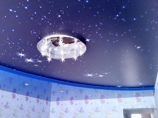 Натяжной потолок со звездным небом в интерьере детской спальни