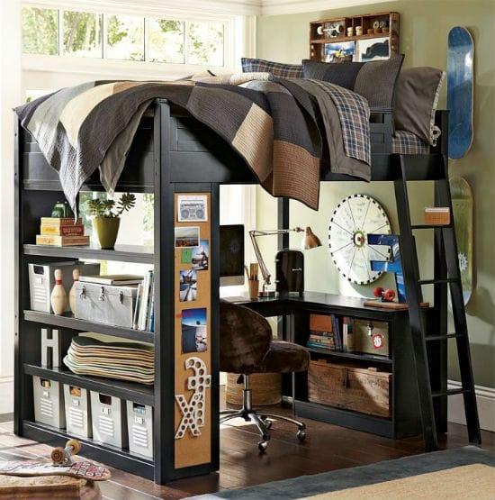 Идея для зонирования пространства подростковой спальни для мальчика