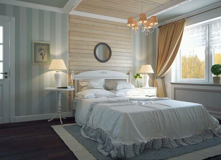Идея для зонирования спальни посредством настенных деревянных панелей