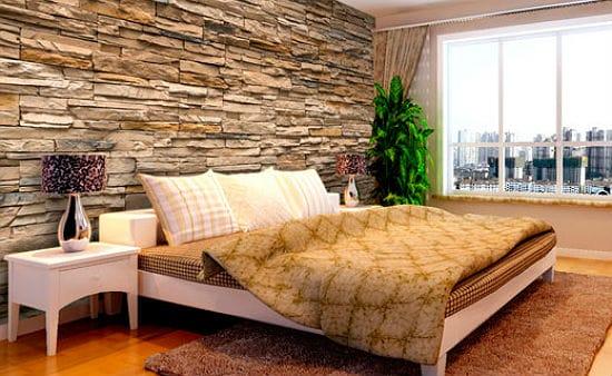 Идея декорирования спальни искусственным камнем