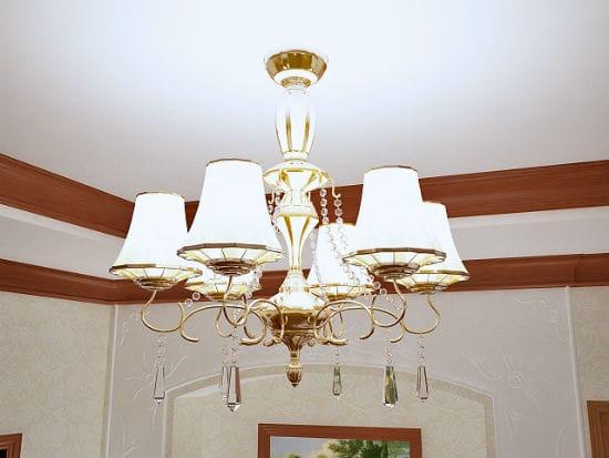 Классическая люстра в освещении спальни