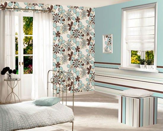 Красивые голубо-коричневые обои компаньоны для спальни