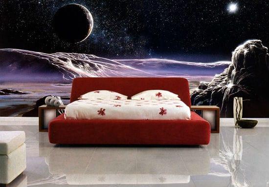 Красивые фотообои на тему космоса в оформлении спальни