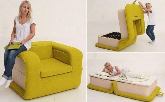 Оригинальное кресло-кровать для экономии пространства спальни