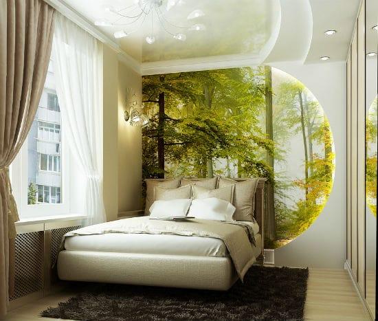 Декорирование фотообоями стены спальни с полукруглой гипсокартонной конструкцией