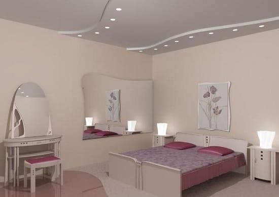 Матовый с точечной подсветкой потолок в спальне