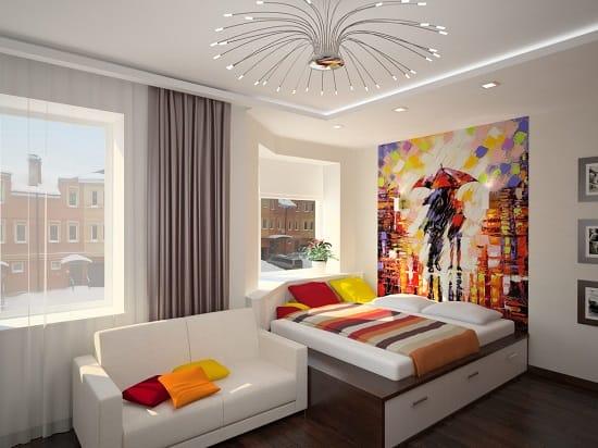 Белая спальня девочки подростка с оформлением в стиле минимализм