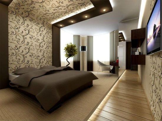 Идея зонирования спальни при помощи контрастной отделки стены и потолка