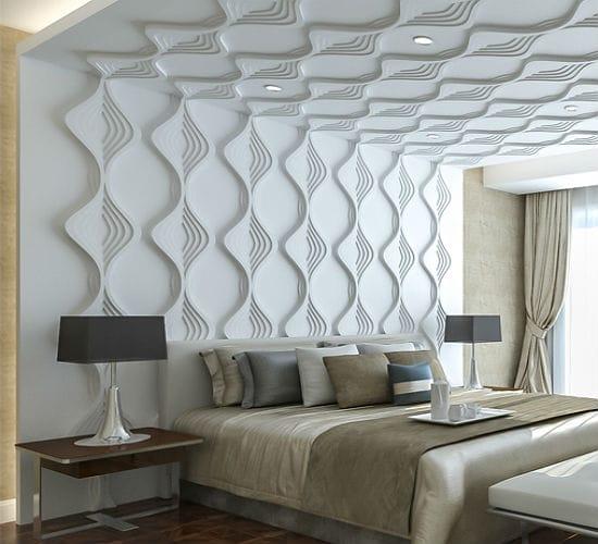 Красивые стереоскопические панели в украшении монохромной спальни