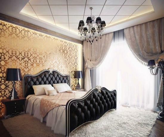 Красивый панельный потолок с подсветкой в спальне