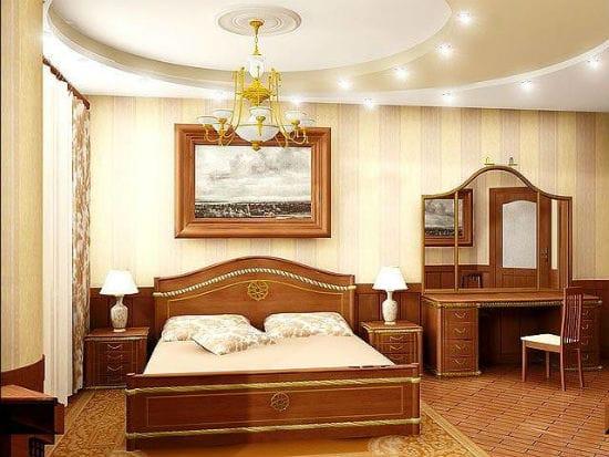 Двухярусный красивый потолок с подсветкой в спальне