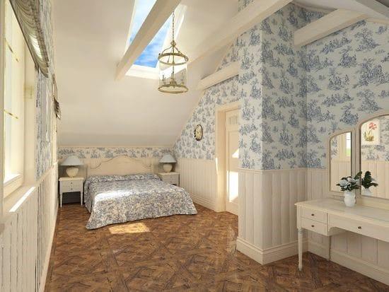 Обои с крупным цветочным рисунком в дизайне спальни прованс