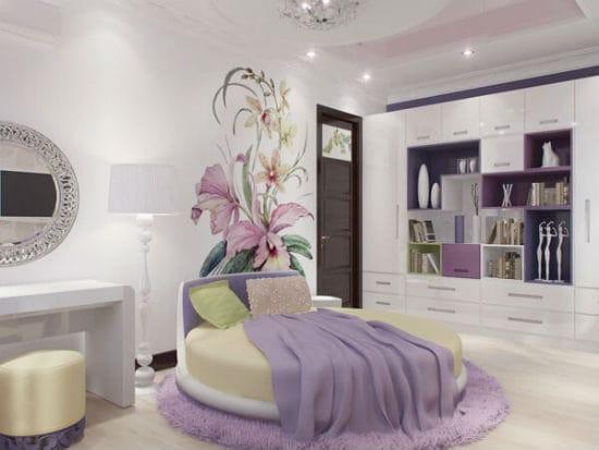 Идея для зонирования спальни при помощи одиночного рисунка