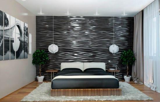 Рифленые стеновые панели в оформлении небольшой спальни
