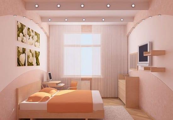 Розовый потолок из гипсокартона в цвет отделки спальни