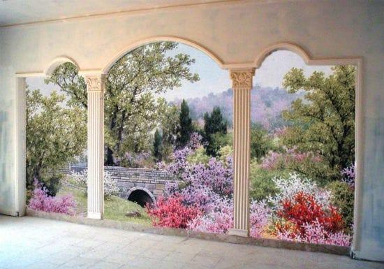 Красивое оформление стены спальни картиной пейзажного жанра