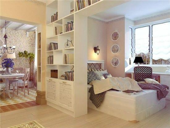 Идея отделения спальной зоны при помощи шкафа перегородки