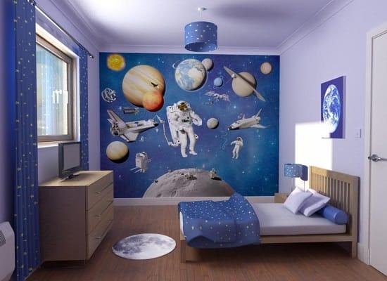 Тема космоса в оформлении спальни мальчика